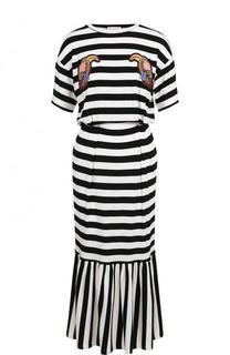 Приталенное платье-миди в полоску с оборкой Stella Jean