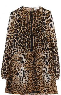 Шелковое мини-платье с леопардовым принтом Saint Laurent