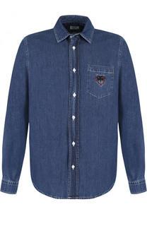 Джинсовая рубашка с логотипом бренда Kenzo