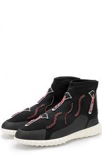 Высокие текстильные кроссовки Lipstick Valentino