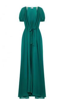 Однотонное шелковое платье с V-образным вырезом Lanvin