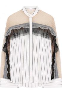 Блуза с воротником-стойкой и оборками self-portrait