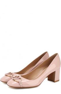 Лаковые туфли V Rivet на устойчивом каблуке Valentino