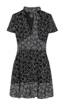 Приталенное мини-платье с воротником аскот и принтом MICHAEL Michael Kors