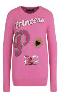 Кашемировый пуловер с круглым вырезом и контрастной отделкой Dolce & Gabbana