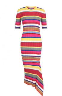 Шерстяное облегающее платье асимметричного кроя в полоску Tak.Ori