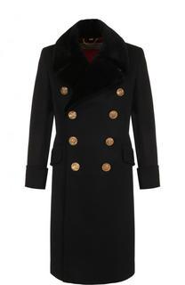 Двубортное пальто из смеси шерсти и кашемира с меховой отделкой воротника Burberry
