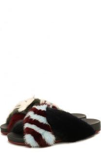 Шлепанцы с отделкой из меха кролика Fendi