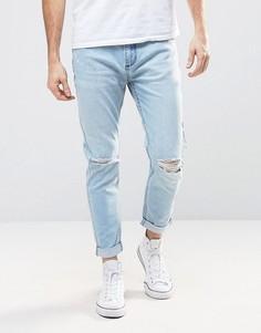 Узкие эластичные джинсы с дырками на коленях Rollas Rollies - Синий