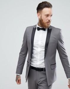 Облегающий пиджак-смокинг голубовато-серого цвета ASOS - Серый