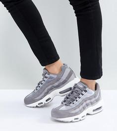Серые бархатные кроссовки Nike Air Max 95 - Серый