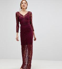 Кружевное платье макси с длинными рукавами Little Mistress Tall - Красный
