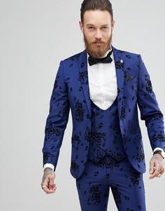 Супероблегающий пиджак с набивкой флок Noose & Monkey - Синий