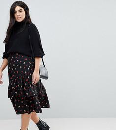 Асимметричная юбка миди с цветочным принтом Influence Plus - Черный