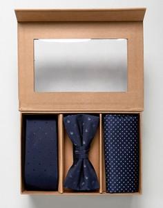 Подарочный набор с галстуком, галстуком-бабочкой и платком для нагрудного кармана Jack & Jones - Темно-синий