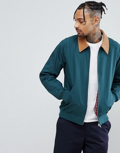 Куртка Харрингтон бутылочно-зеленого цвета с вельветовым воротником ASOS - Зеленый