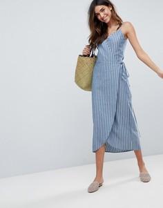 Платье макси в полоску с запахом сбоку ASOS - Мульти