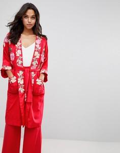 Пальто-кимоно с вышивкой Millie Mackintosh - Красный