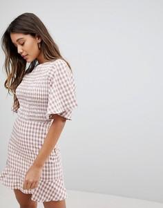Чайное платье в клетку с оборками Fashion Union - Мульти