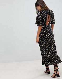 Платье макси с цветочным принтом и открытой спиной Fashion Union - Мульти