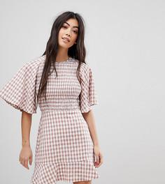 Чайное платье в клетку с оборками Fashion Union Petite - Мульти