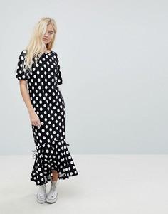 Асимметричное платье макси в горошек ASOS - Мульти