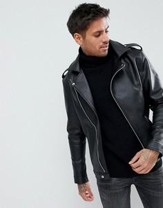 Черная асимметричная байкерская куртка из искусственной кожи boohooMAN - Черный