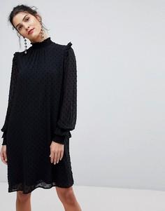 Шифоновое платье с высоким воротом Y.A.S - Черный