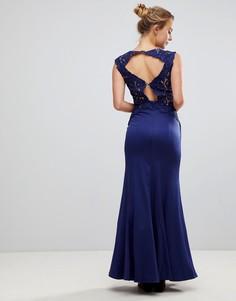 Платье-трапеция макси с кружевными вставками Little Mistress - Темно-синий