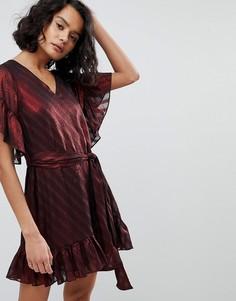 Свободное платье в полоску AllSaints - Красный