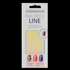 Наклейки для ногтей `GLOSSYBLOSSOM` NAIL DECO LINE (голографические линии)