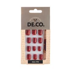Набор накладных ногтей `DE.CO.` красный с перламутром (28 шт + пилка, клеевые стикеры 20 шт, маникюрная палочка)