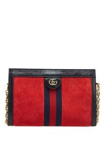 Красная сумка из замши Ophidia Gucci