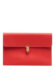Красная кожаная сумка-конверт Alexander Mc Queen
