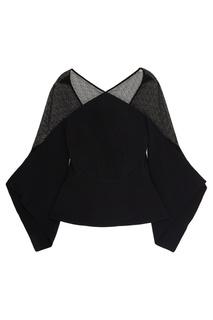 Черная блузка с прозрачными деталями Roland Mouret
