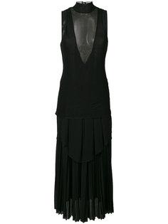 длинное платье шифт с полупрозрачной вставкой  Proenza Schouler