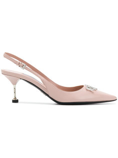 туфли-лодочки с заостренным носком с логотипом Prada