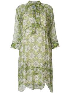 платье с цветочным принтом и завязкой на вороте  Prada