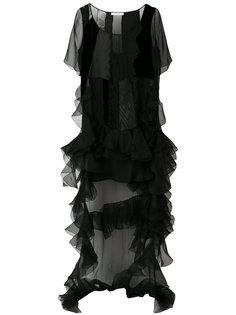 платье со вставками и оборкой  Givenchy