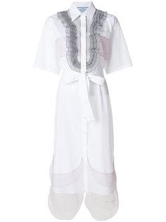 платье-рубашка с оборками  Prada