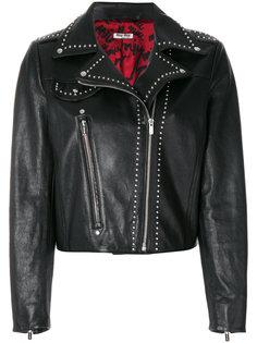 байкерская куртка с заклепками  Miu Miu