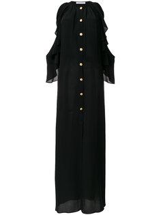 платье с оборками и открытыми плечами Pierre Balmain