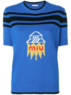трикотажный топ с логотипом и короткими рукавами  Miu Miu