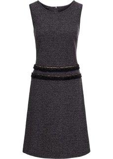 Платье с бахромой (черный с узором) Bonprix