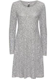 Платье вязаное (светло-серый меланж/кремовый) Bonprix