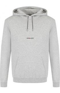 Хлопковое худи с логотипом бренда Saint Laurent