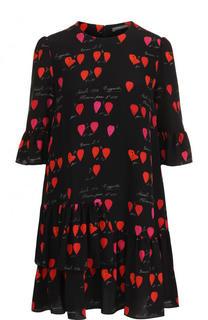 Шелковое мини-платье с укороченным рукавом и принтом Alexander McQueen
