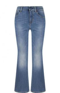 Укороченные расклешенные джинсы с потертостями Jacob Cohen