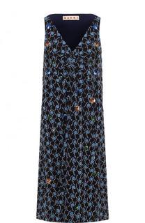 Приталенное платье-миди с V-образным вырезом Marni