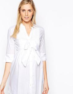 Завязывающаяся спереди рубашка-туника Isabella Oliver - Белый